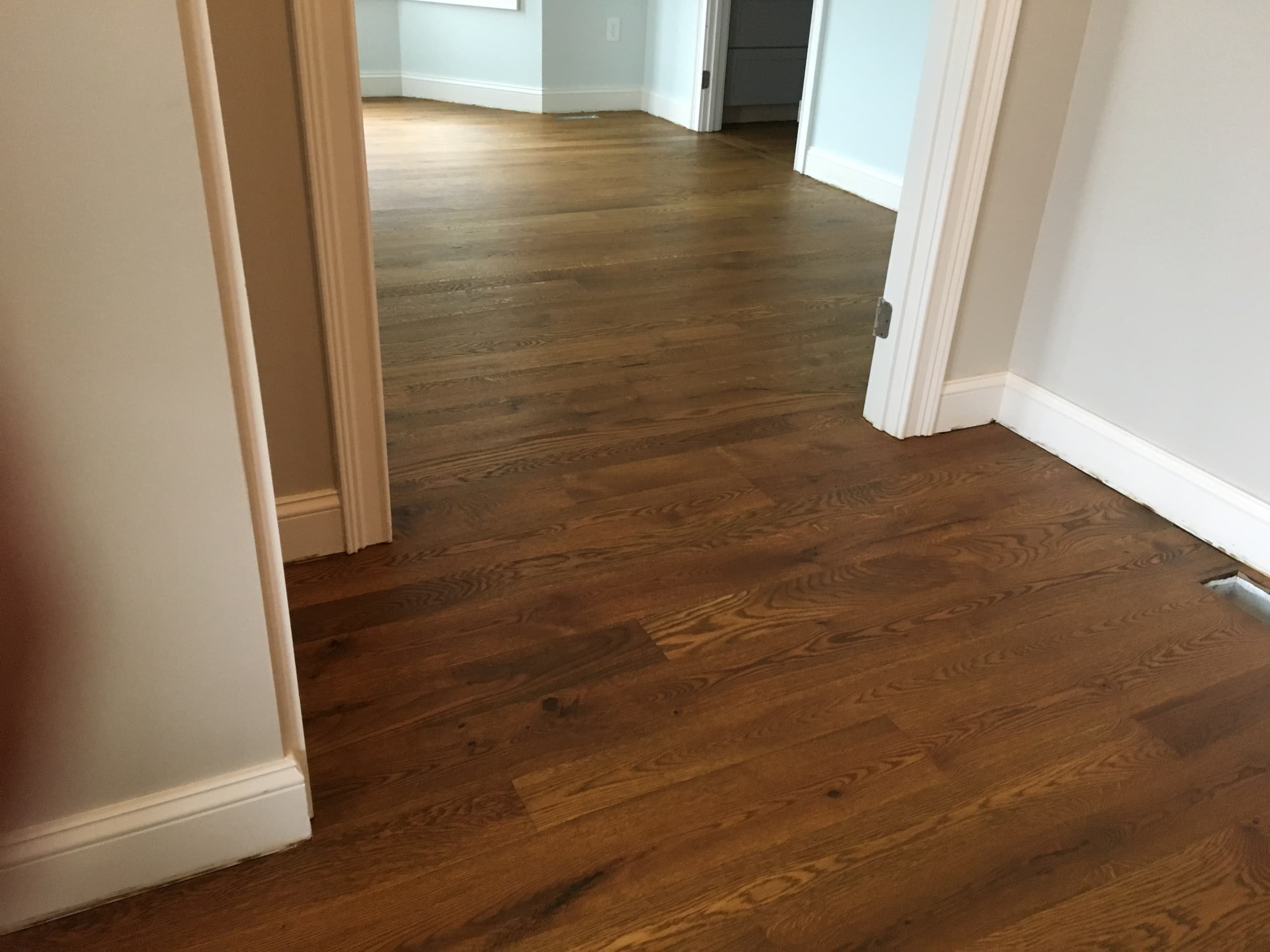 4, 5, 6 inch sound character white oak with Monocoat Dark Oak finish