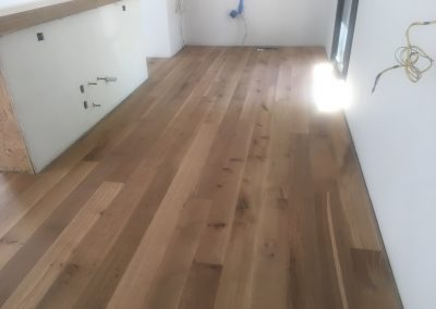 7 inch quartersawn sound character grade white oak with Monocoat 5_ White finish